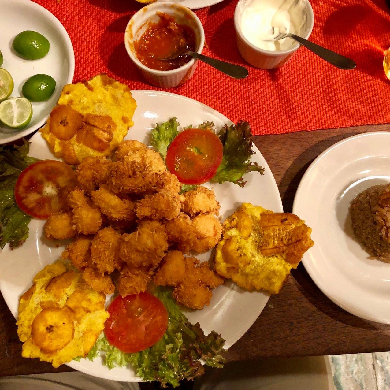 Breaded prawn, coconut rice