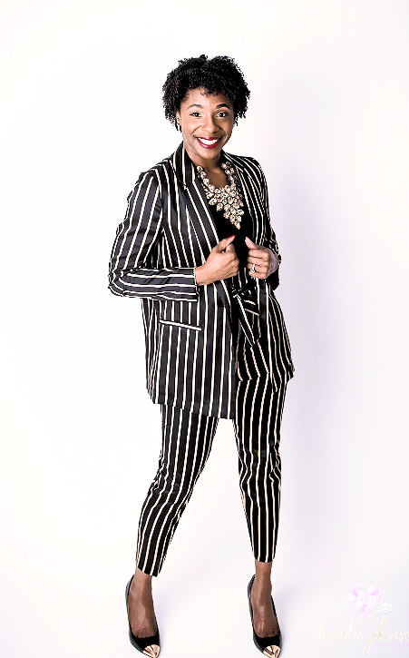 Attorney Sivonnia DeBarros in Black and Gold Business Pant Suit. Photography: Rhonda Johnson Photography