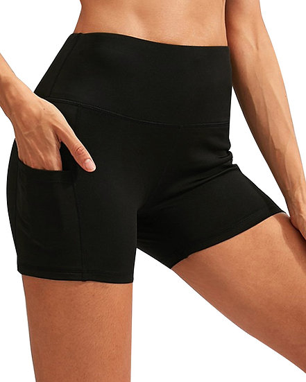 Booji Calcao High Waist Yoga Shorts With Pocket in Black