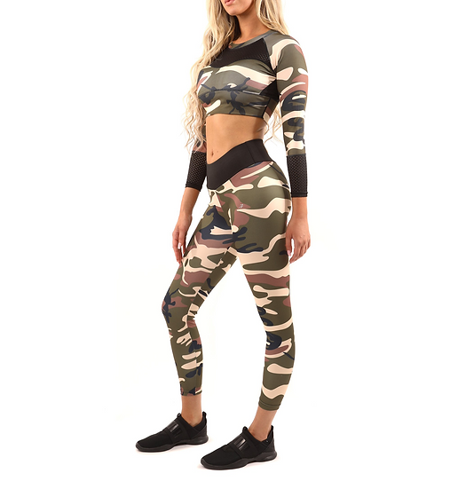 Booji Virginia Camouflage Set - Leggings & Sports Bra in Brown and Green