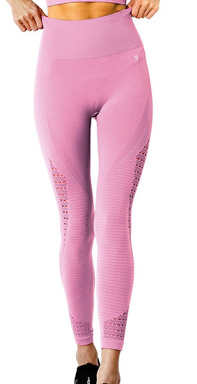 Booji Modarna Mesh Seamless Legging With Ribbing Detail in Pink Agate