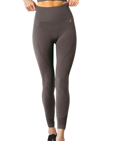 Booji Mesh Modern Seamless Legging With Ribbing Detail in Taupe