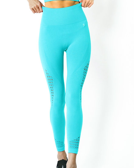 Booji Modarna Mesh Seamless Legging With Ribbing Detail in Aqua