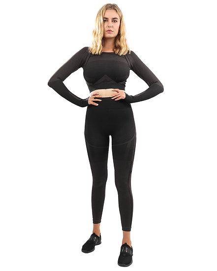 Booji Decata Seamless Leggings & Sports Top Set in Black and Brown