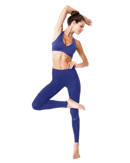 Booji Athletique Low-Waisted Ribbed Leggings With Hidden Pocket and Mesh Panels