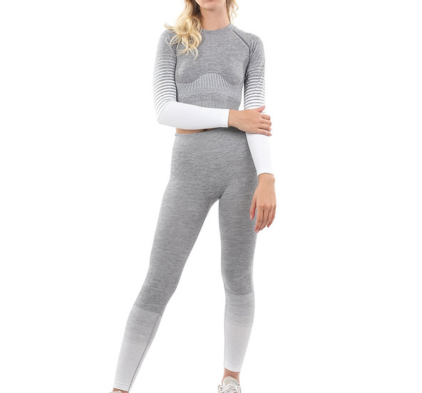 Booji Bocana Seamless Leggings & Sports Top Set in Grey & White