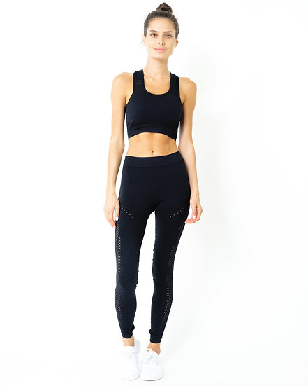 Booji Milano Seamless Set - Leggings & Sports Bra in Black - Made in Italy