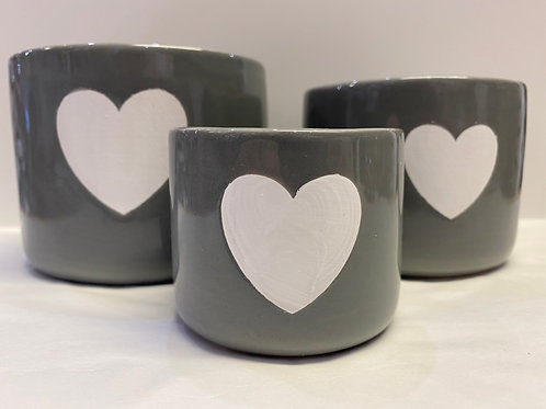 Set of 3 Pots (Grey with White Heart)