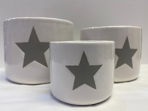 Set of 3 Pots (White with Grey Star)