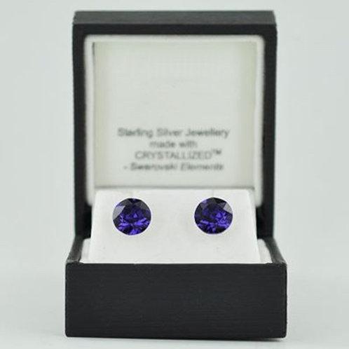 Silver & Crystal Stud Earrings (Purple Velvet) 11256