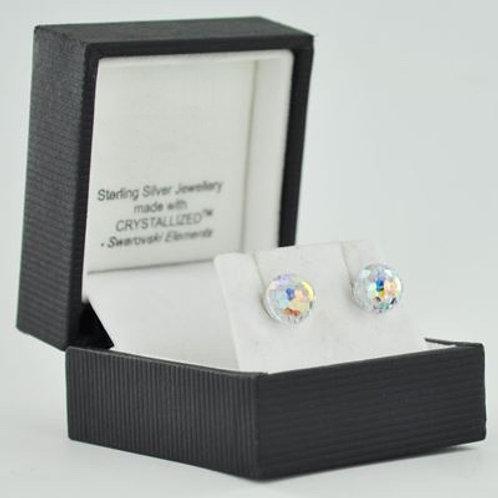 Silver & Crystal Stud Earrings (Clear Ball) 11039
