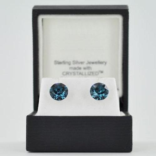 Silver & Crystal Stud Earrings (Light Blue) 11032