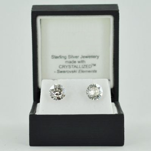 Silver & Crystal Stud Earrings (Clear) 11030