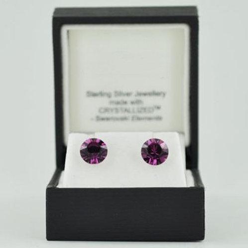 Silver & Crystal Stud Earrings (Amethyst Colour) 11266