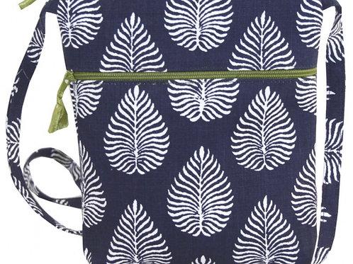 Navy/White Leaf Bag