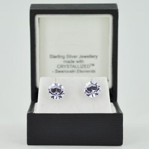Silver & Crystal Stud Earrings (Light Purple) 11257