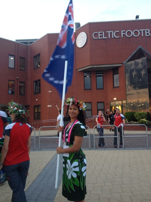 Patty flag bearer at Comm Games