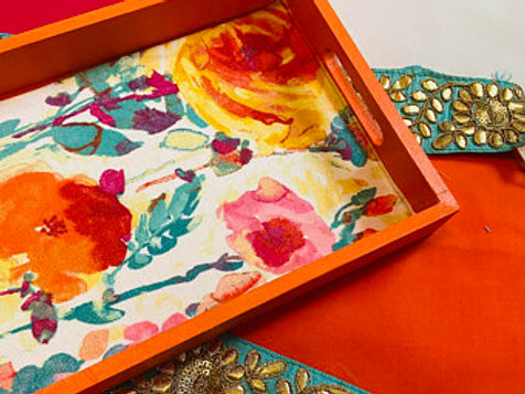 Hand painted textile, wooden decorative tray