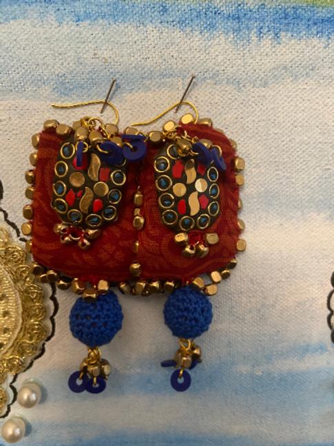 Tibetan inspired, Indian Textile, crochet earings