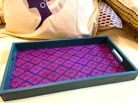 Hand painted , textile, wooden decorative tray.