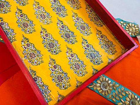 Textile wooden decorative tray