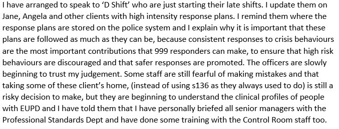 """Screenshot of text reading """"I have arranged to speak to 'D Shift' who are just starting their late shifts. I update them on Jane, Angela and other clients with high intensity response plans. I remind them where the response plans are stored on the police system and I explain why it is important that these plans are followed as much as they can be, because consistent responses to crisis behaviours are the most important contributions that 999 responders can make, to ensure that high risk behaviours are discouraged and that safer responses are promoted. The officers are slowly beginning to trust my judgement. Some staff are still fearful of making mistakes and that taking some of these client's home, (instead of using s136 as they always used to do) is still a risky decision to make, but they are beginning to understand the clinical profiles of people with EUPD and I have told them that I have personally briefed all senior managers with the Professional Standards Dept and have done some training with the Control Room staff too."""""""""""