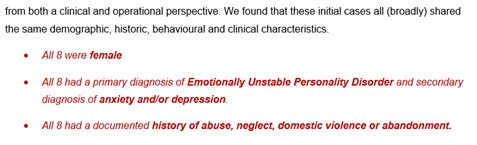 """A screenshot of text which reads """"from both a clinical and operational perspective. We found that these initial cases all (broadly) shared the same demographic, historic, behavioural and clinical characteristics.  All 8 were female. All 8 had a primary diagnosis of Emotionally Unstable Personality Disorder and secondary diagnosis of anxiety and/or depression. All 8 had a documented history of abuse, neglect, domestic violence or abandonment"""""""