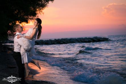 Cleveland Lake Erie Sunset Wedding