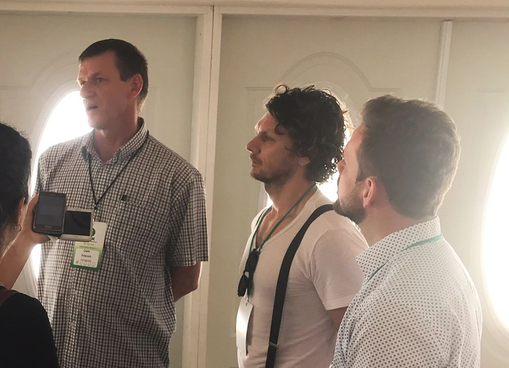 Uwe, Bernie y Eduard, en su visita a Cuauhtémoc