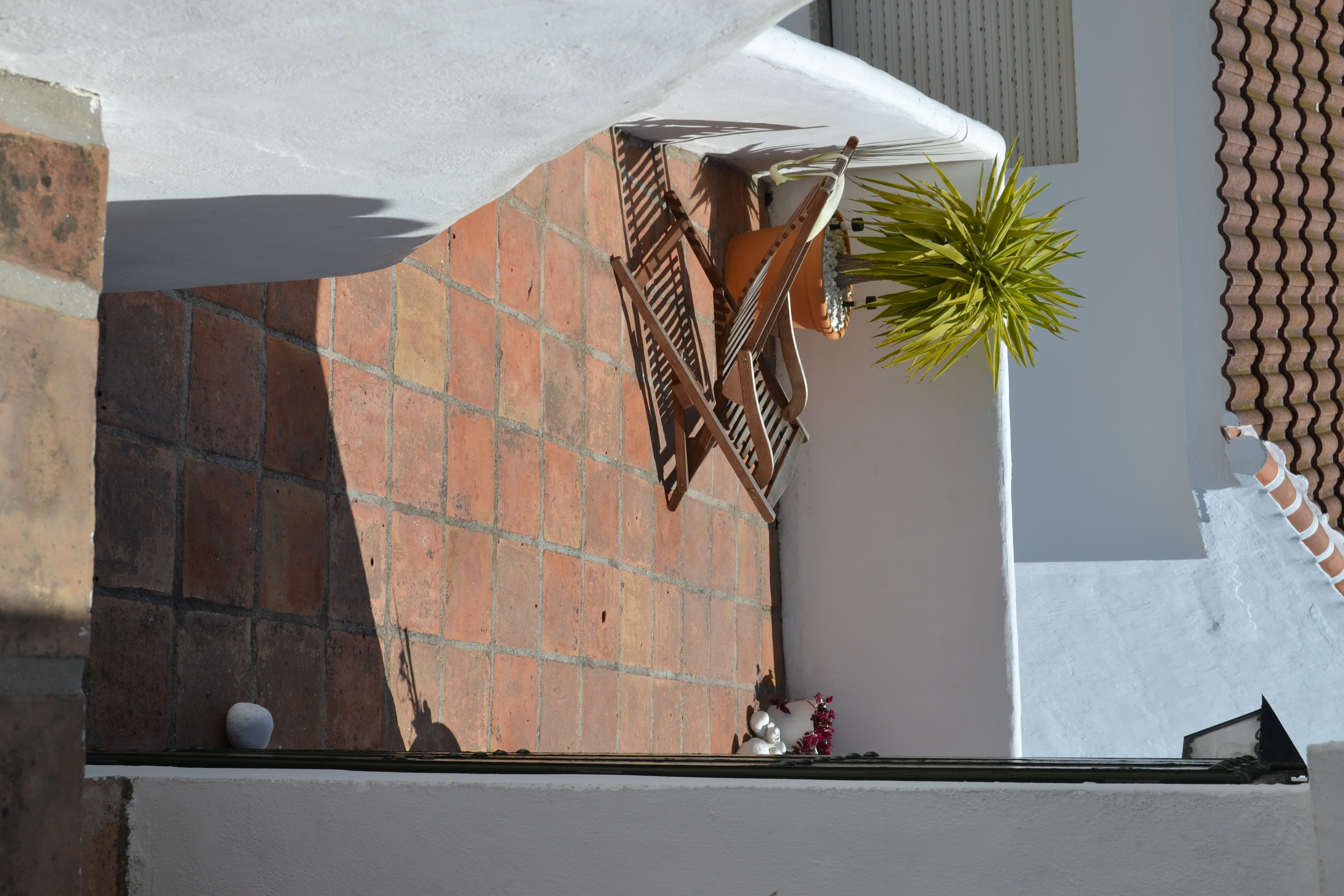 Tomar el sol en la terraza inferior