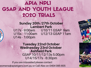 APIA NPL1, GSAP AND YOUTH LEAGUE TRIAL UPDATE