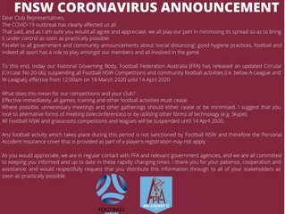 FNSW CORONAVIRUS ANNOUNCEMENT