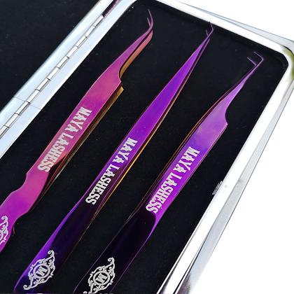 Tweezers Violet Set + Magnetic Case