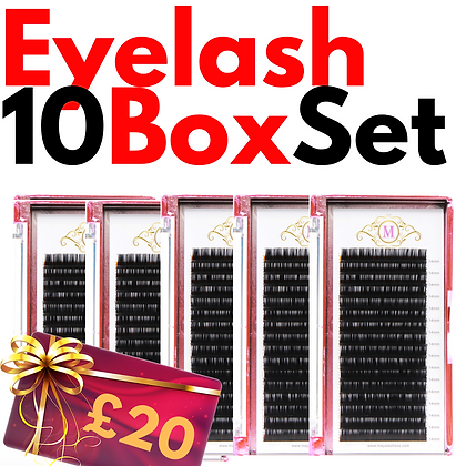 Set of Eyelashes 10 Boxes Plus voucher £20
