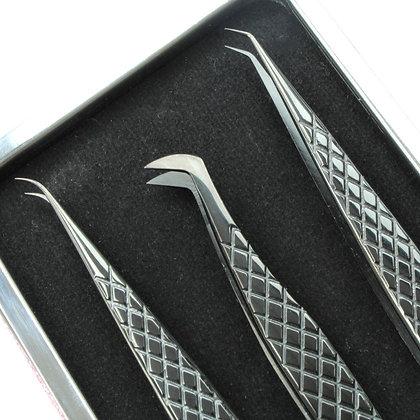 Tweezers Black Set + Magnetic Case