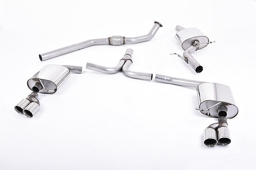 A4 2.0 TFSI S line B8 (manual-only) Non-Resonated Quad-outlet. Chrome Tips