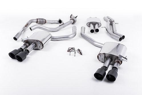 S4 3.0 Turbo V6 B9 - All (Sport Diff Models) Cat Back Resonated Quad Black Tips
