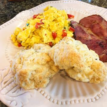 Veggie Scramble with homemade biscuits