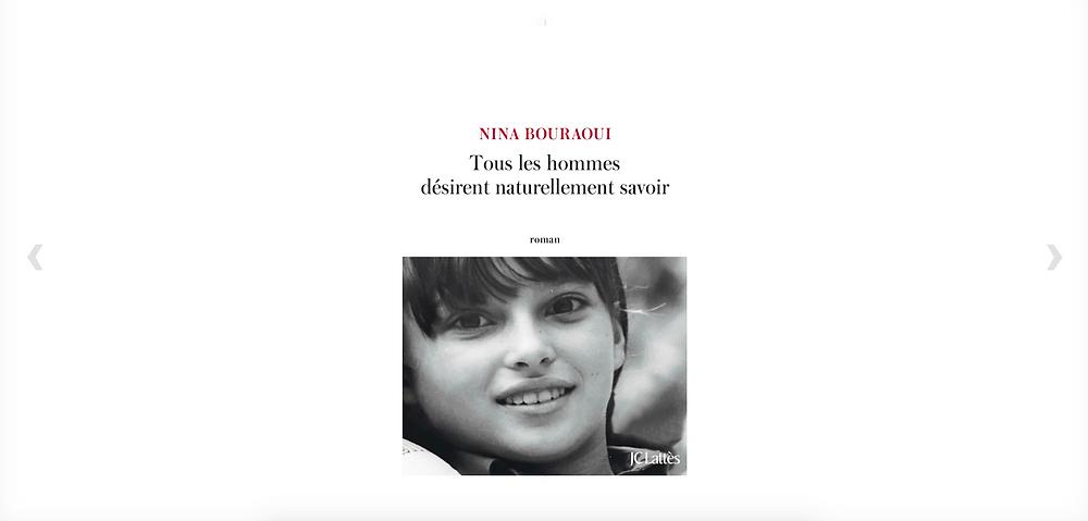 tous les hommes desirent naturellement savoir Nina Bouraoui