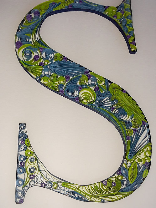 Made to Order: Quilled initials, 8 x 10
