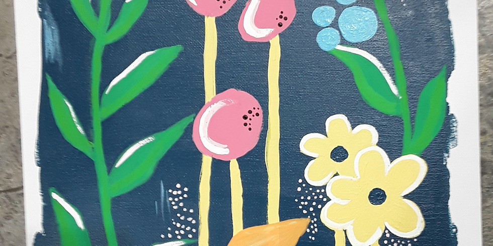 Special Size Paint & Sip: Folksy Flowers