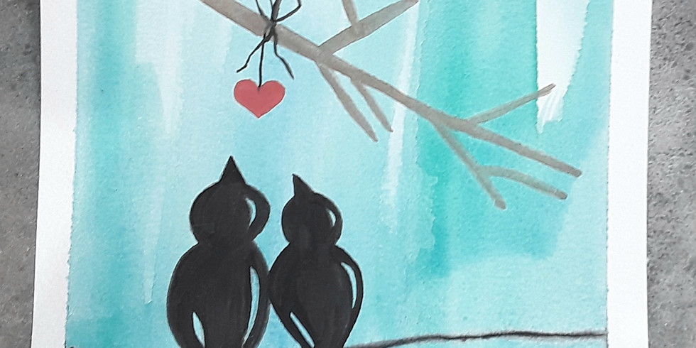 Beginner Watercolor Lesson: Love in the Air