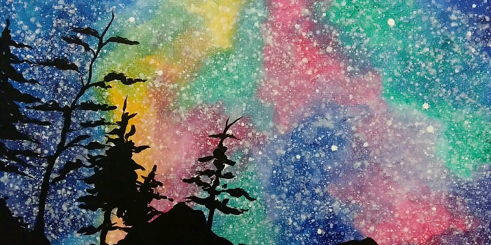 Teen Painting Night..Florescent Night Sky