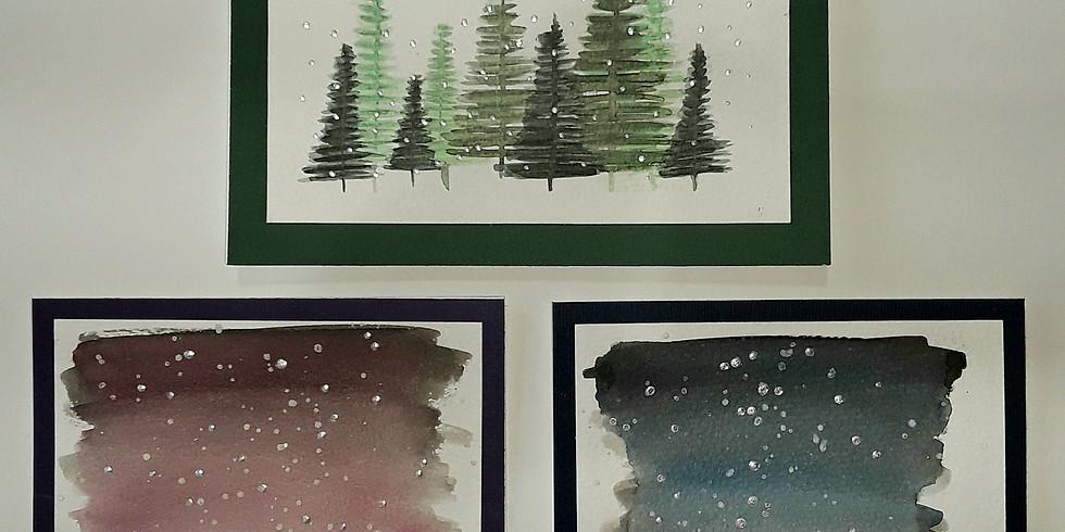 Beginner Watercolor Holiday Cards or Small Prints, BYOB