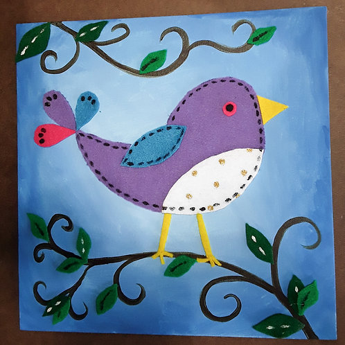Pleasant Bird, felt and paint