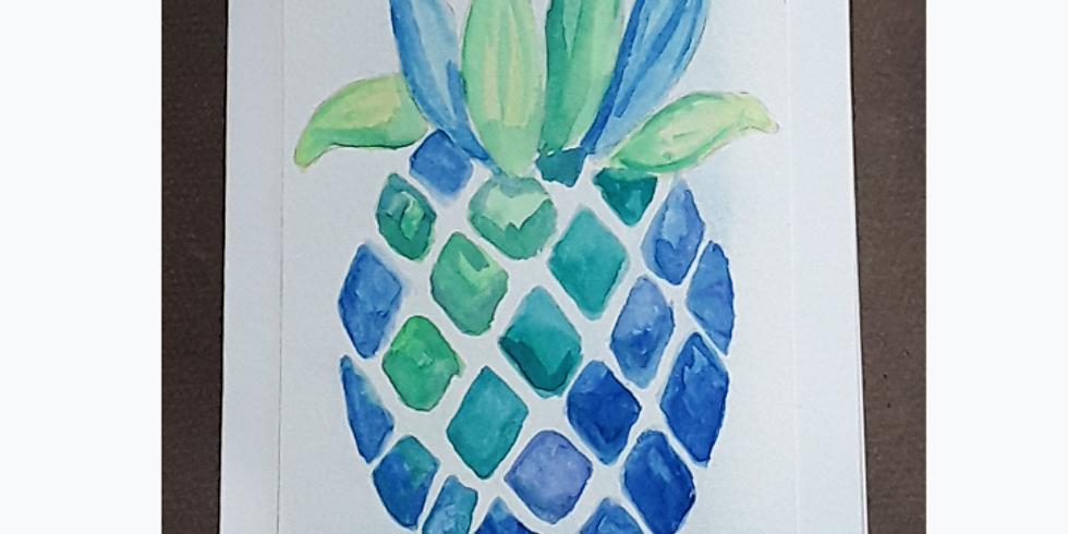 Beginner Watercolor In studio & online: Pineapple