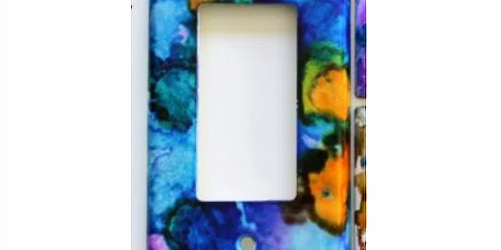 Alcohol Ink Switch plates In Studio ONLY