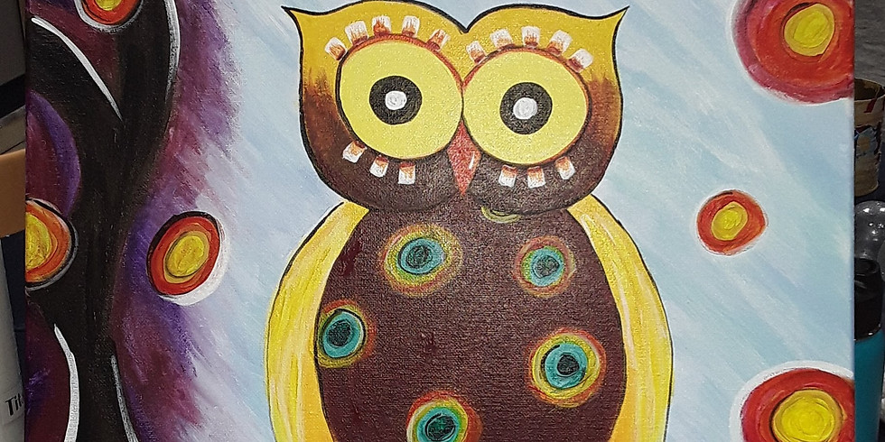 Matching Owl canvas with Owl rock painting