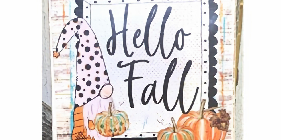 """Gnome Fall Painting """"Hello Fall"""""""