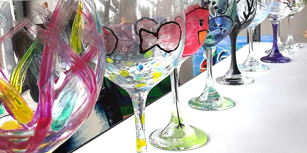 Wine Glass Painting, 2 glasses